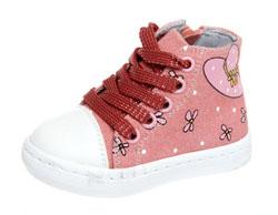 319b321b Кеды для девочки, Сказка, розовые, джинса/текстиль, шнурки/молния,